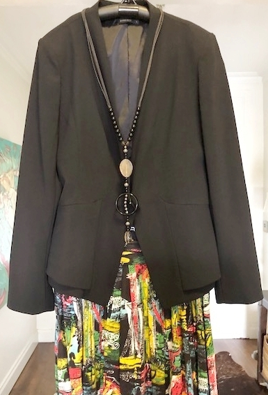 Contemporary jacket, 1950's skirt