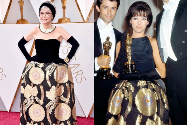 Actor Rita Moreno at the 2018 Oscars aged 86 and the 1962 Oscars aged 32, receiving the award for Best Supporting Actress in,  West Side Story.