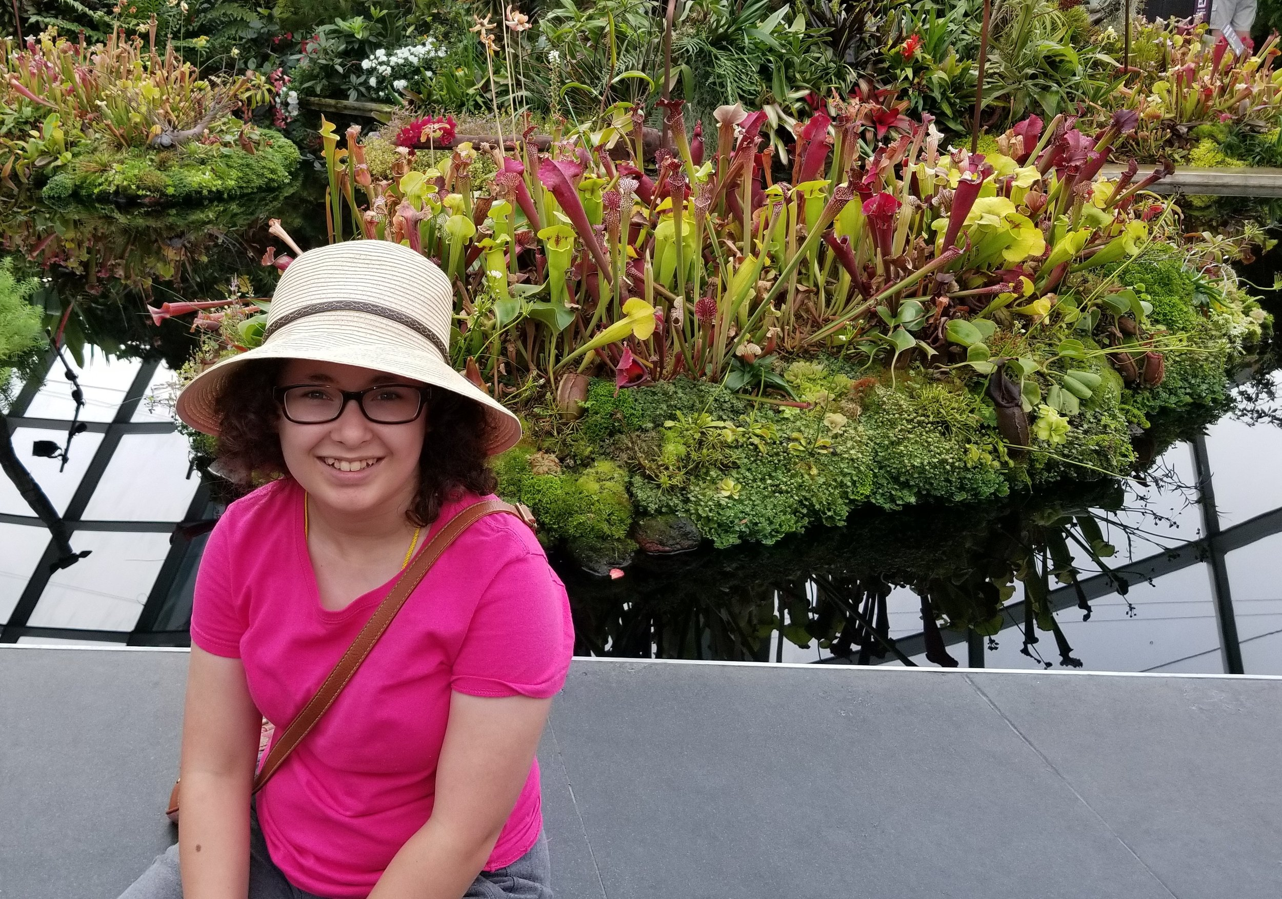 """I told Sarah I would take a """"picture"""" of the her in front of the """"pitcher"""" plants. She said I was fired as pun maker ..."""