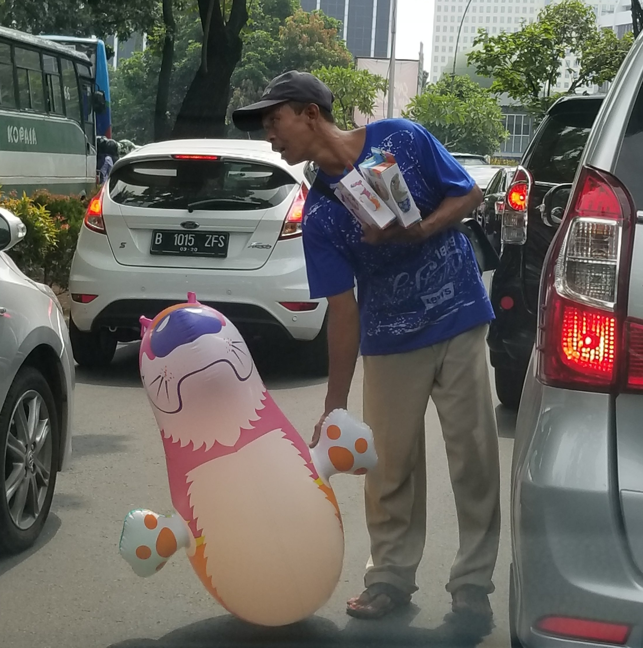 You just never know what they will try and sell you in the middle of the street in Jakarta ....