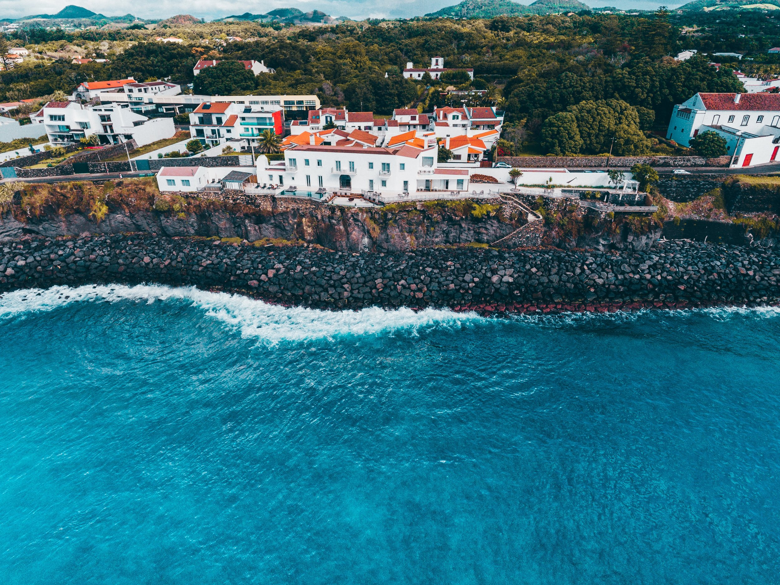 view of exclusive villas on the coast of ponta delgada in sao miguel azores portugal.jpg