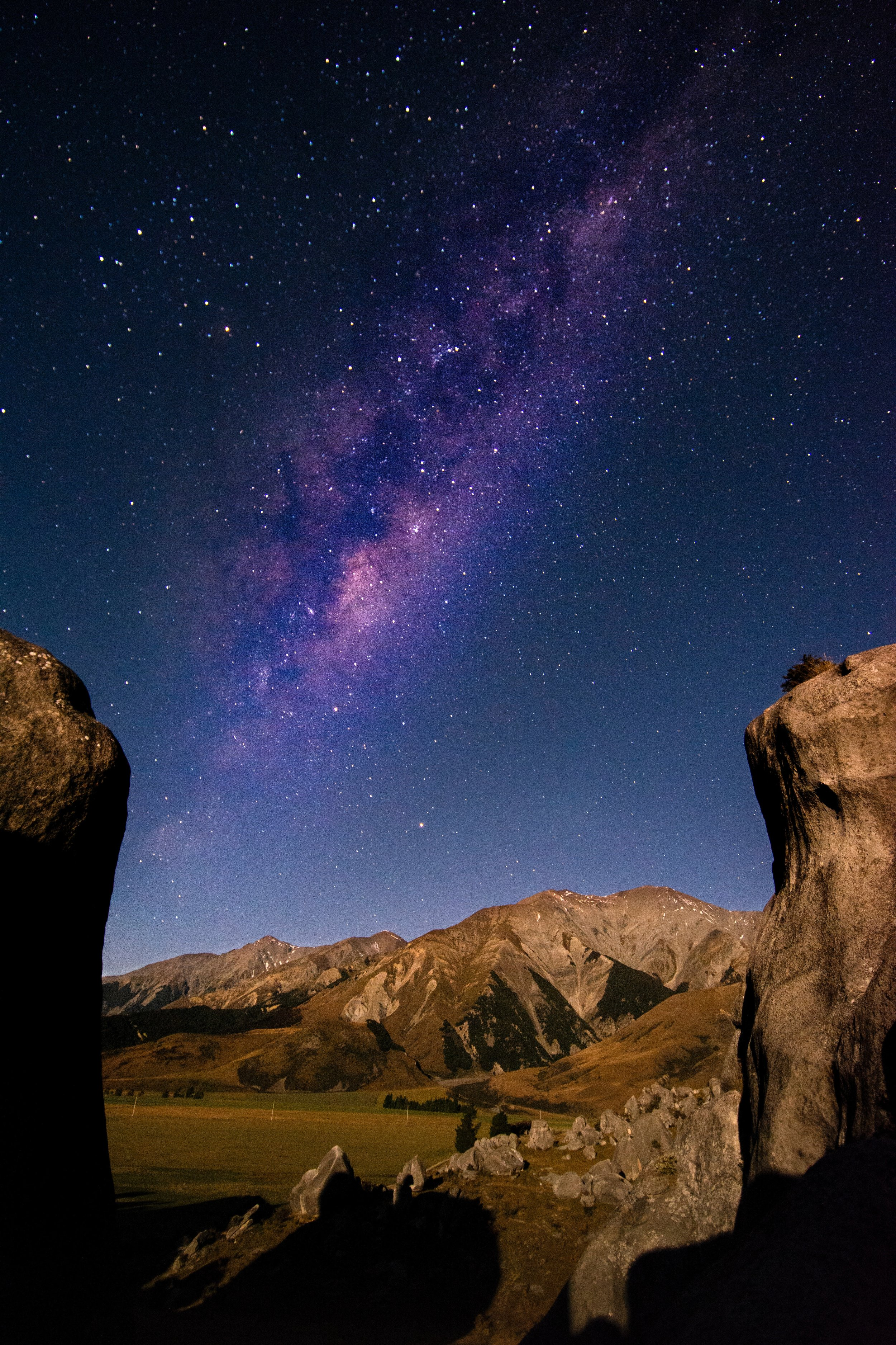 amazing purple stars visible in New Zealand by the rocks