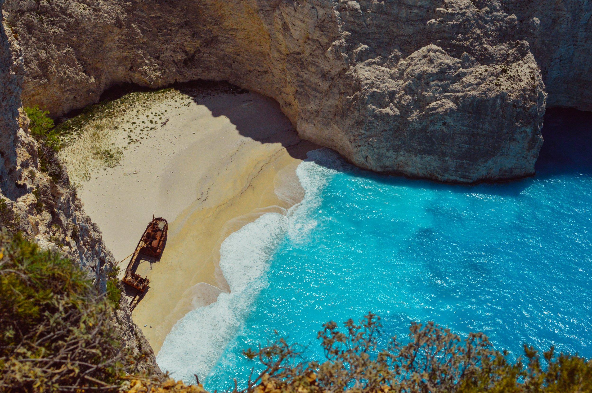 famous shipwreck on zakynthos beach in greece