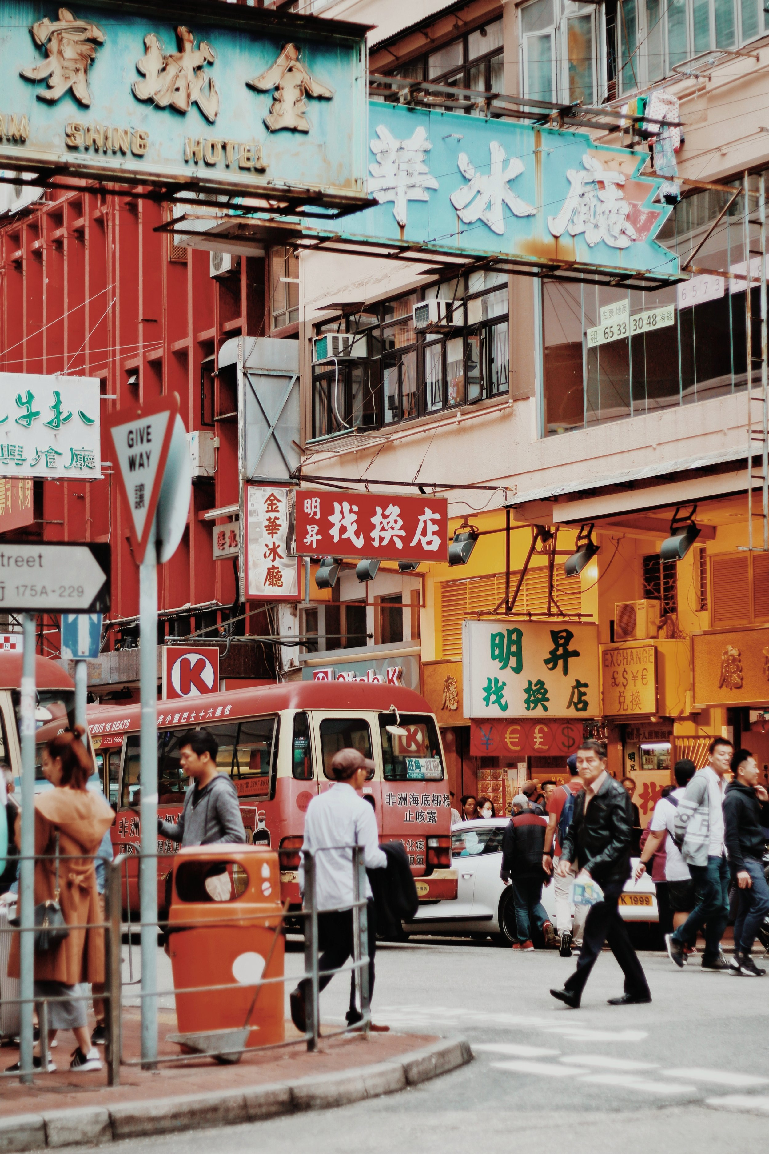 street scene with decadent signs in hong kong