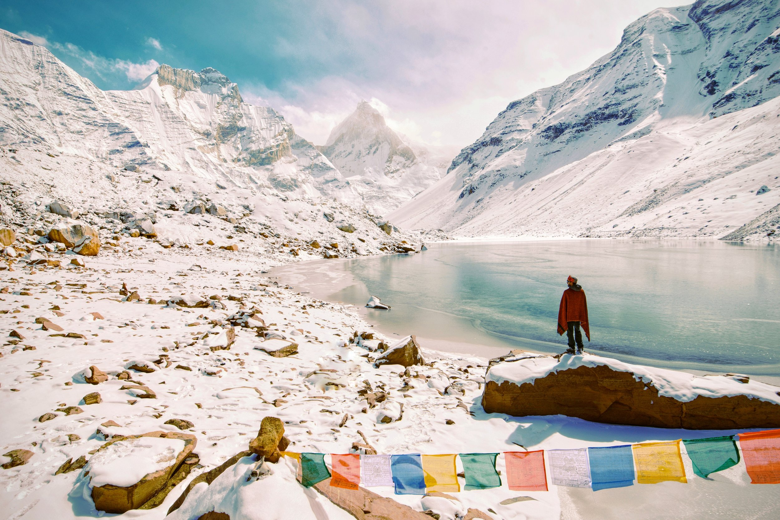 snowy white mountains with lake in Nepal