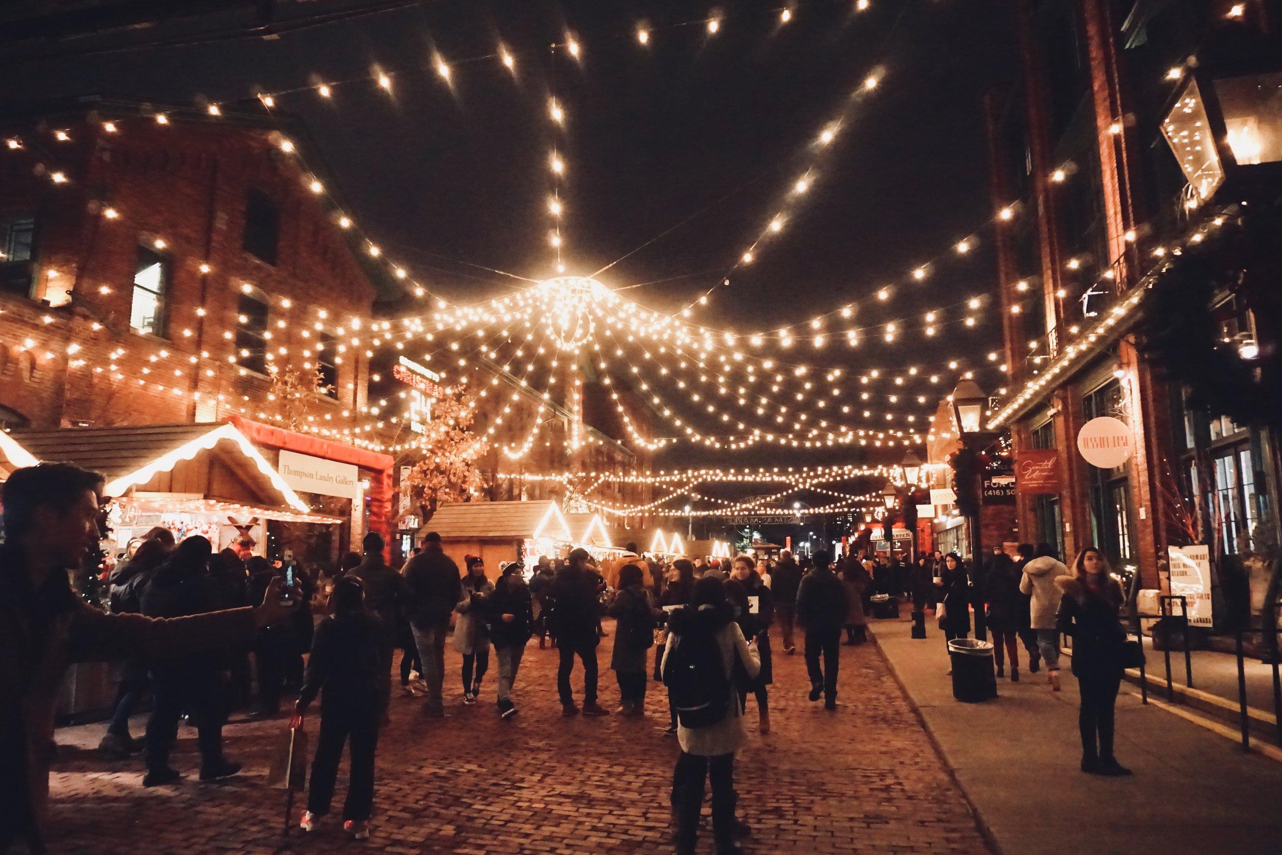 lit up marketplace at night