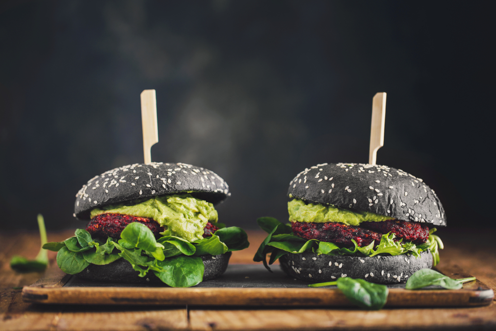 black bun burgers with guacamole