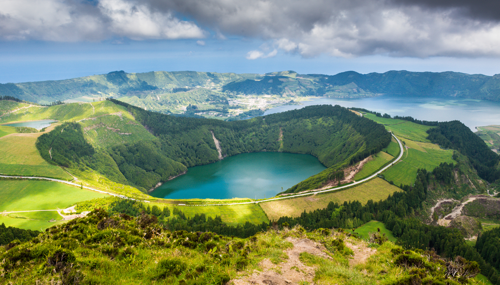 beautiful lagoon on Sao Miguel in the Azores Islands of Portugal