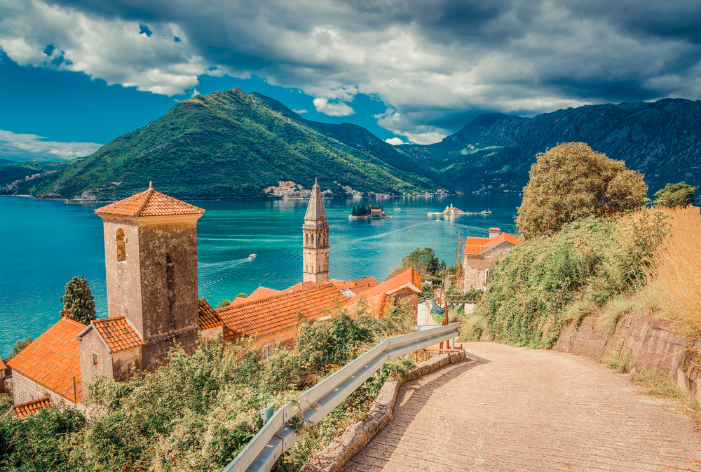 picturesque kotor in montenegro of old town with mountain backdrop