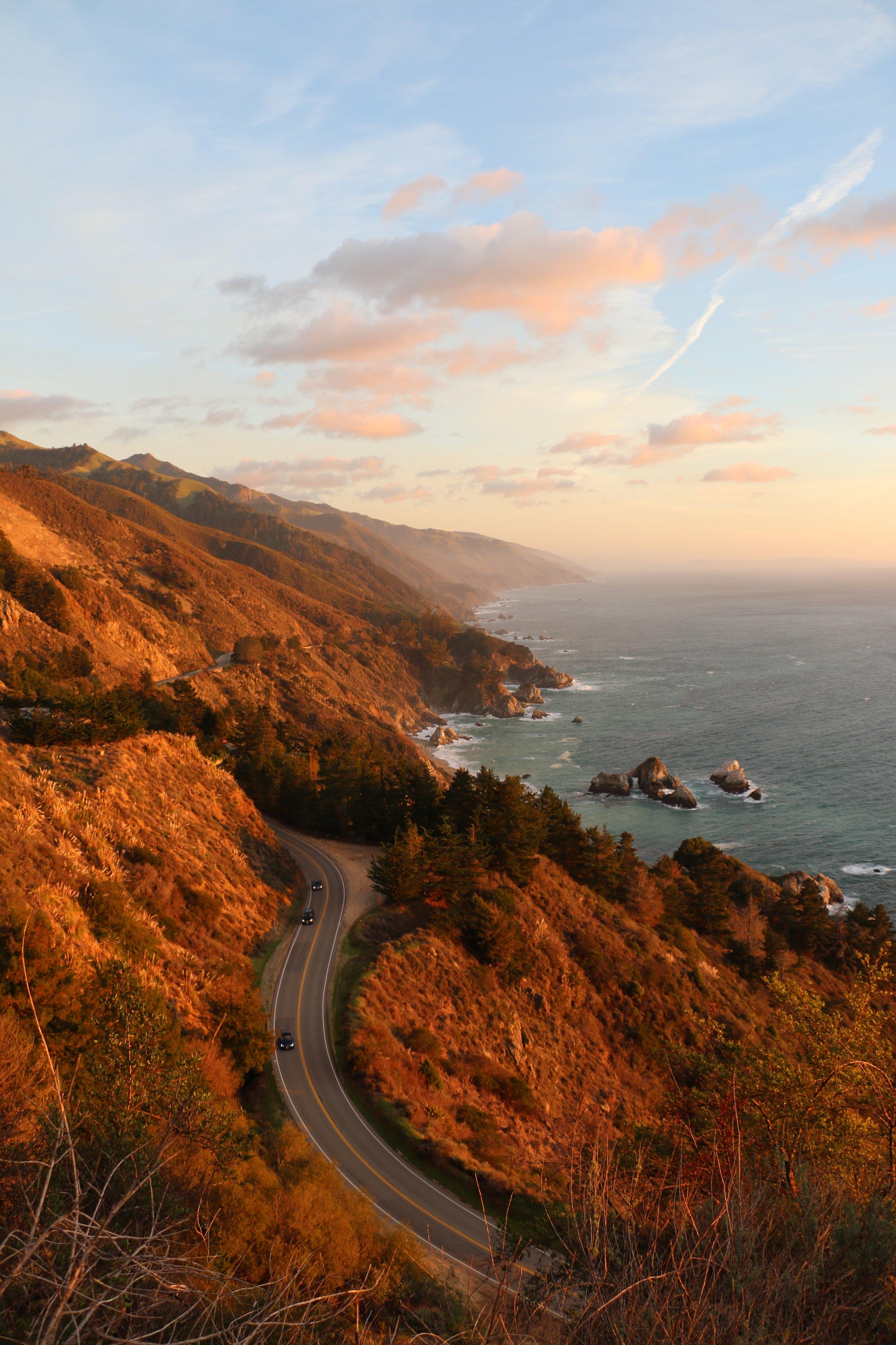 winding mountain highway along the coast