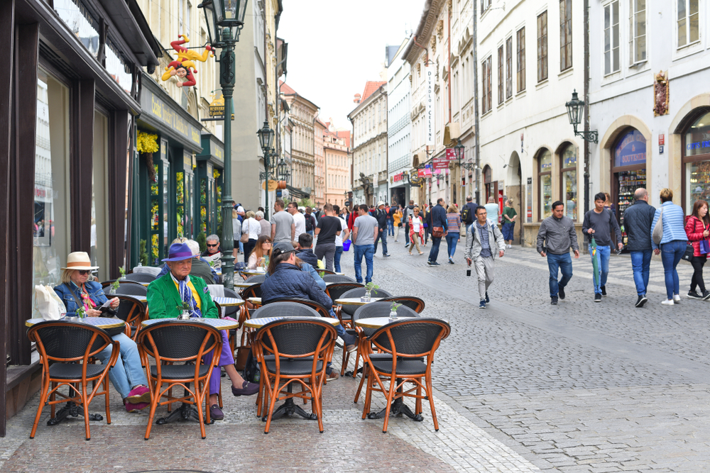 outdoor cafe on busy shopping street