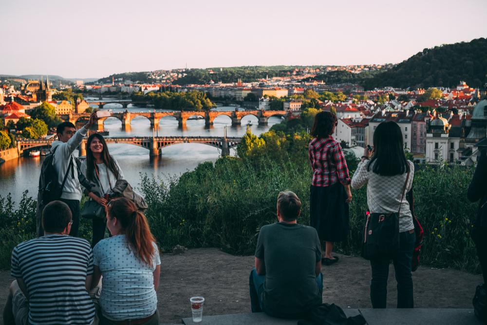 beer garden overlooking Prague bridges