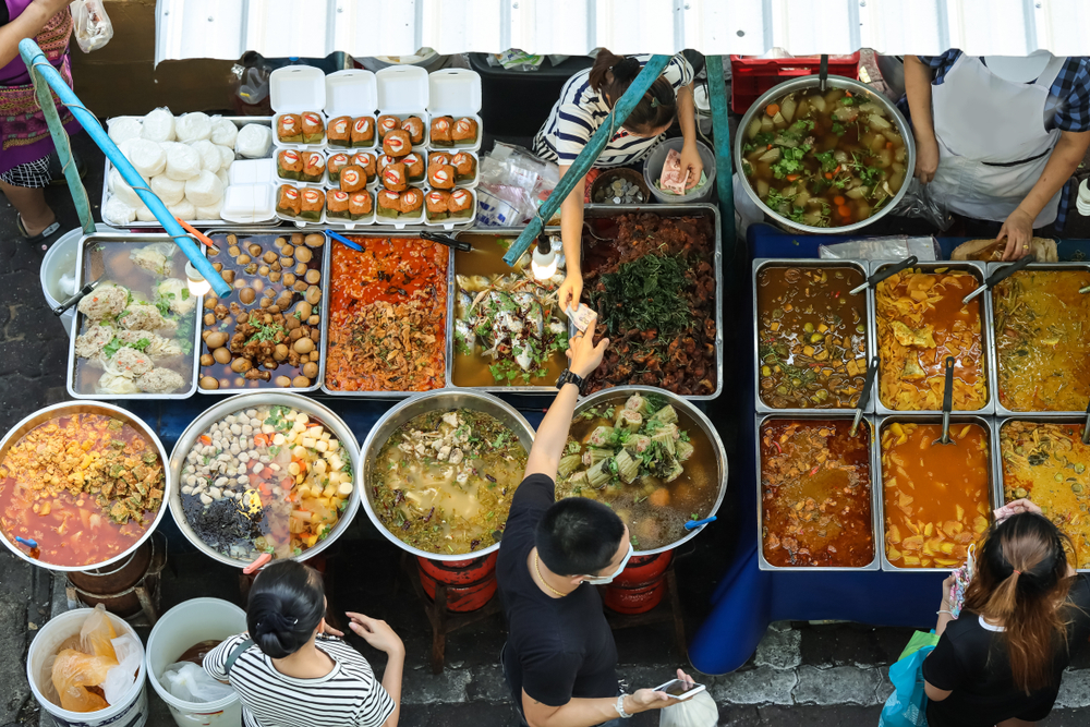 spread of delicious street food in Asia