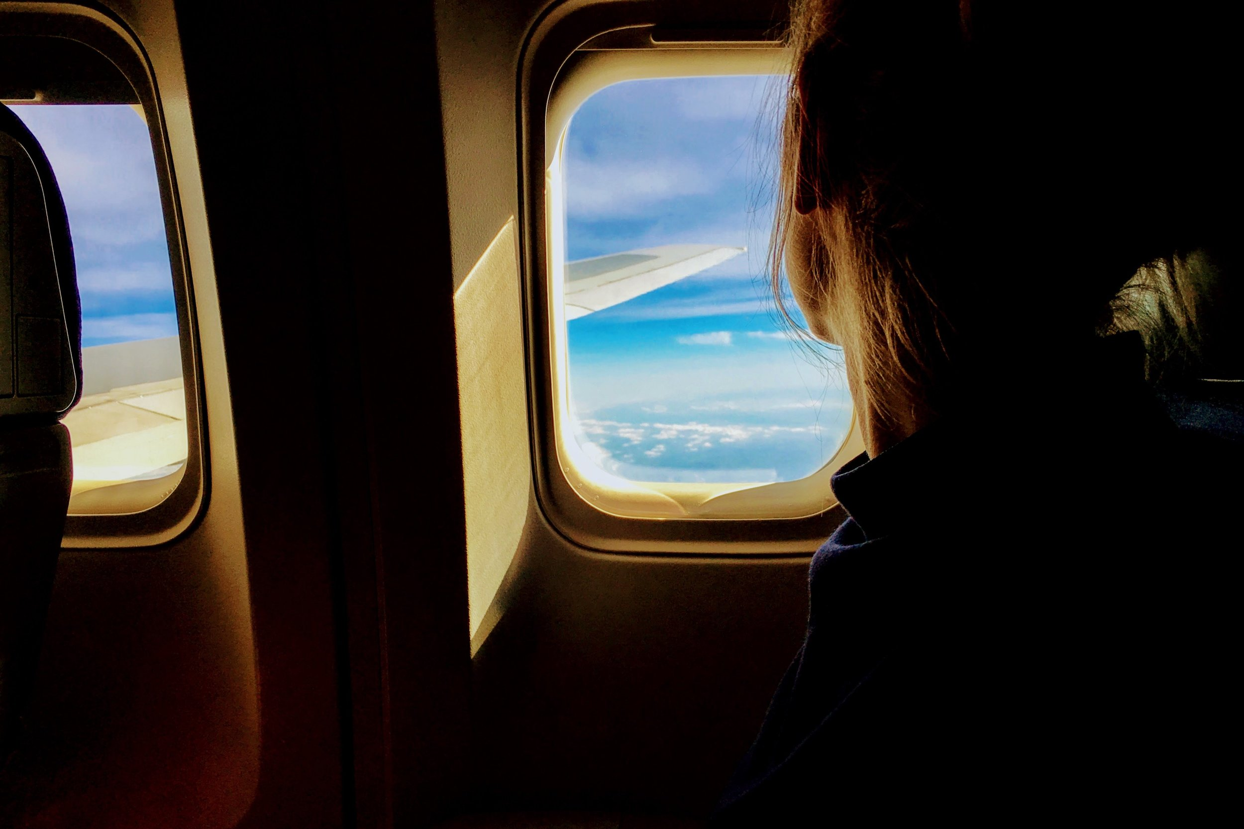 person looking out the window of an airplane