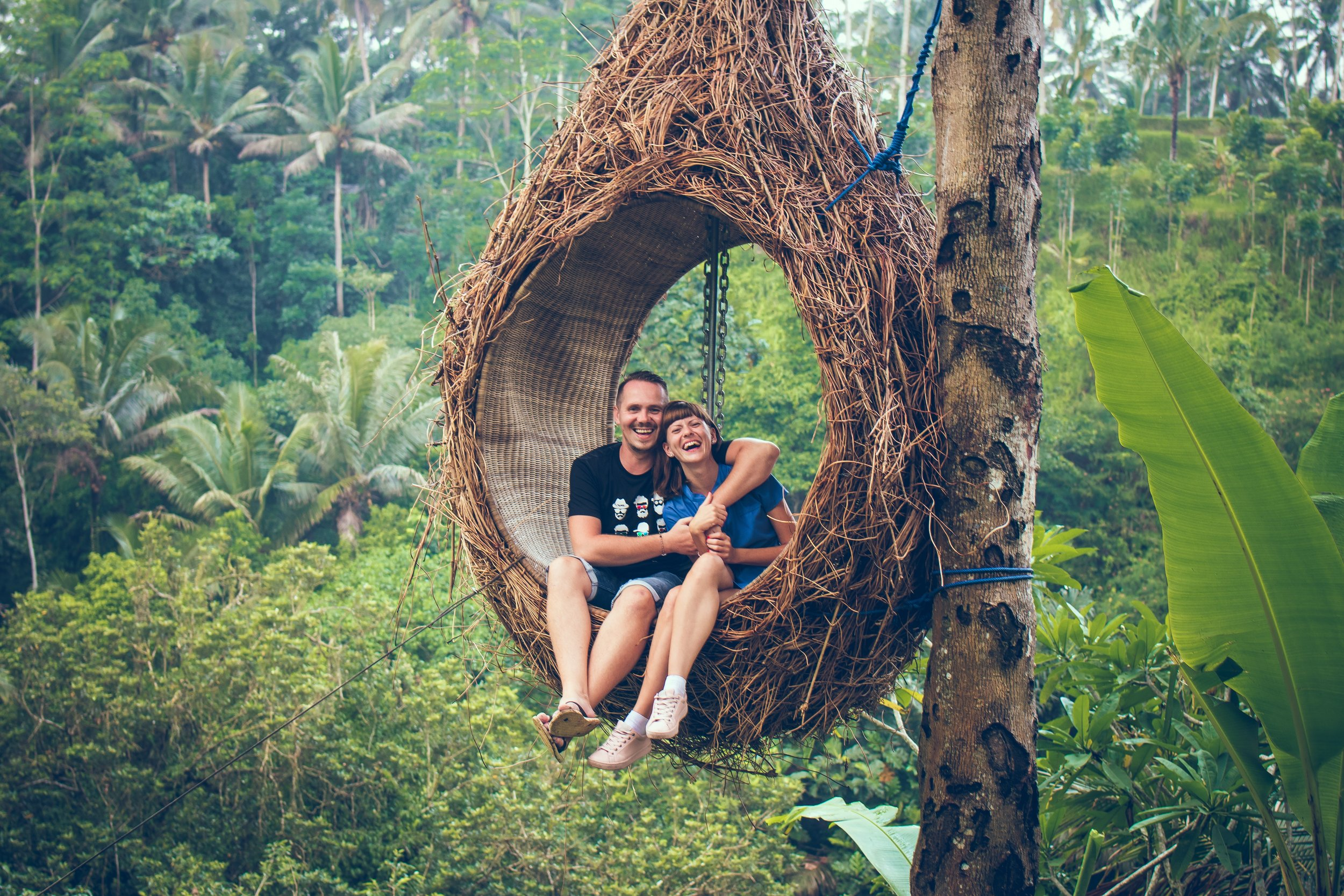 couple swinging in a tree swing in the jungle