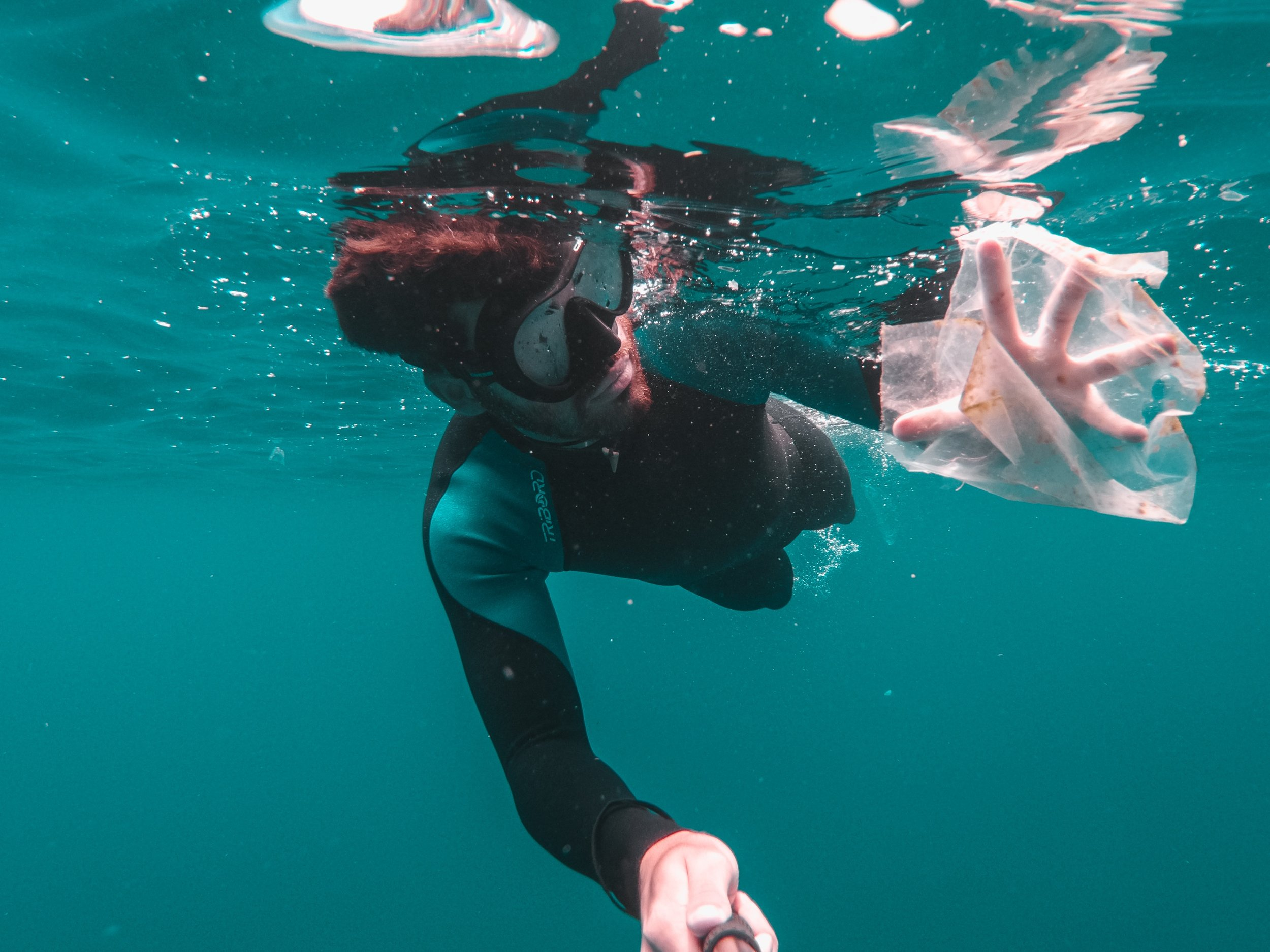 snorkeler grabbing plastic bag in the water