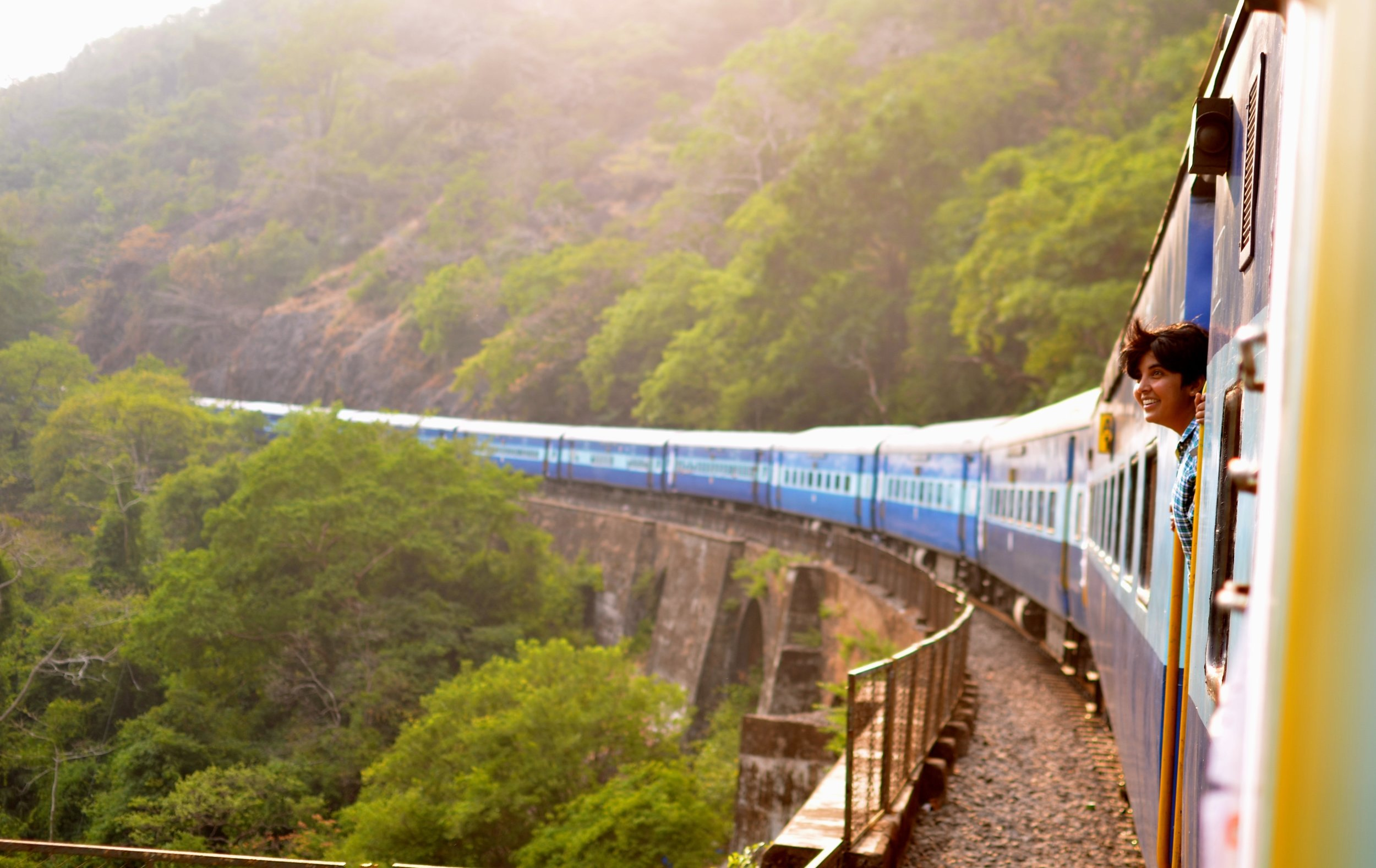train in the mountains in india