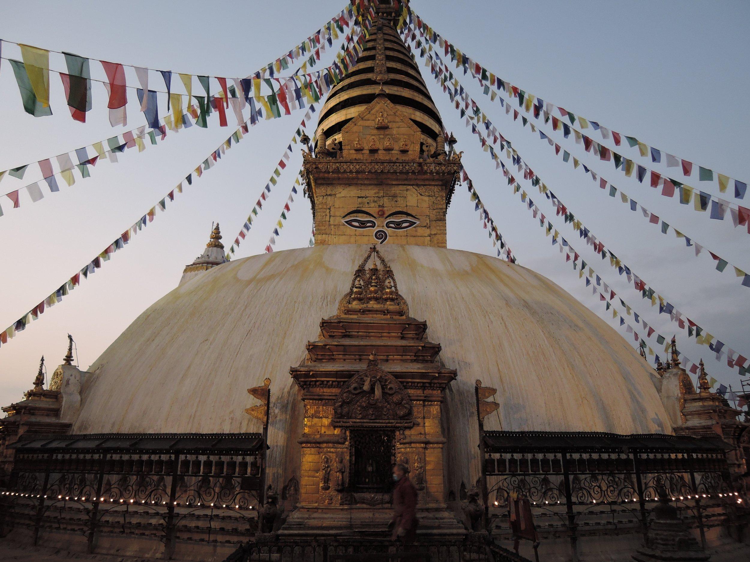 Kathmandu and Annapurna, Nepal temple with prayer flags