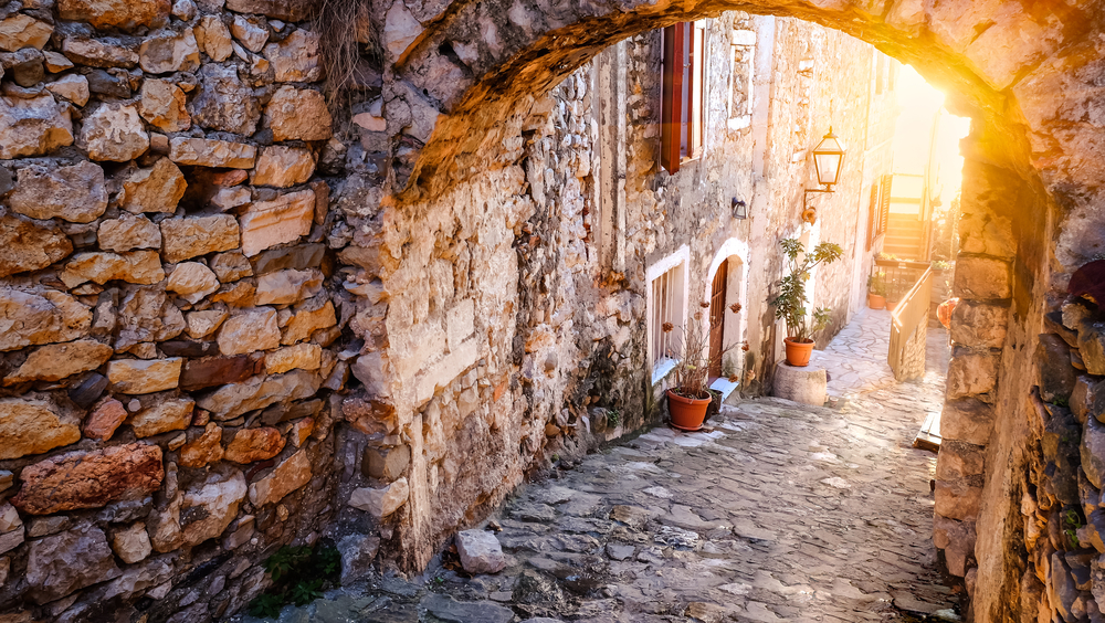 cobbled old fashioned street in Montenegro