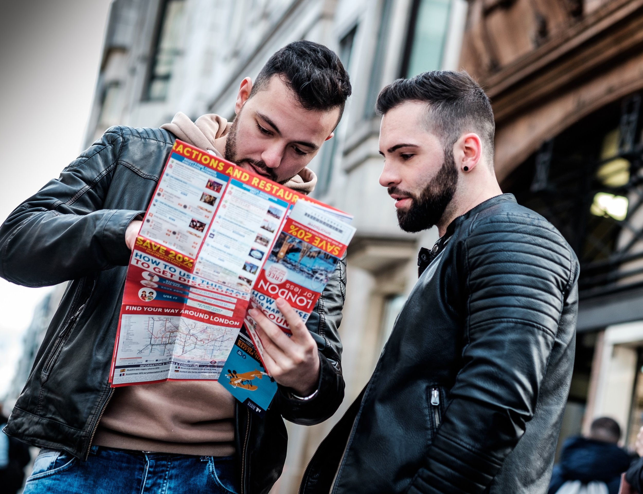 couple looking at a city map together