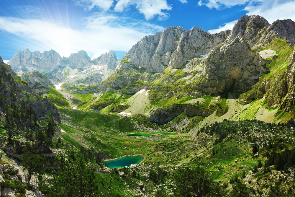 amazing view of mountain lakes in the albanian alps