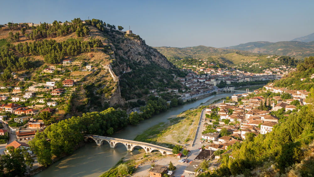 panorama of the historic city of berat albania