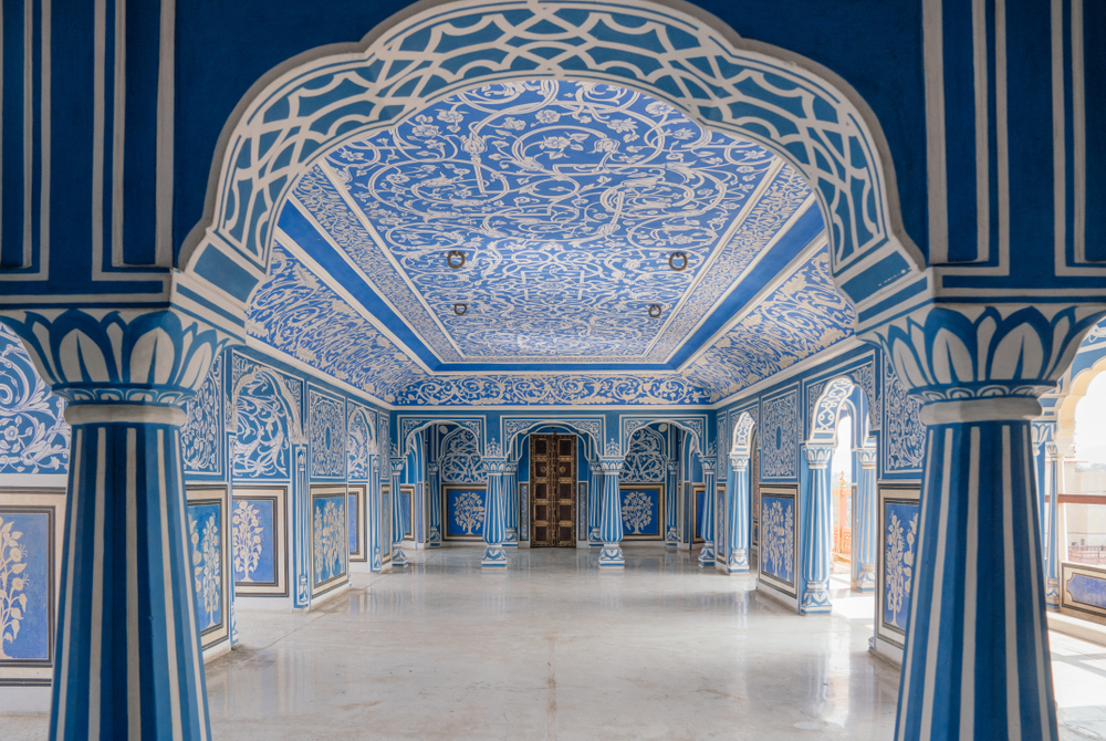palace interior with blue and white painted interior