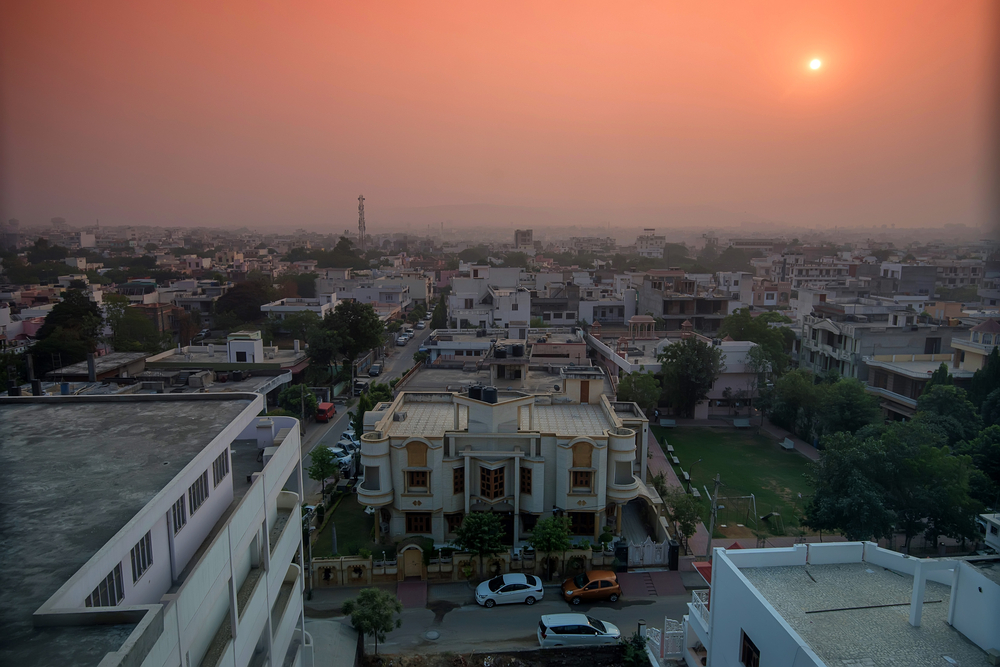 aerial view of jaipur at sunset