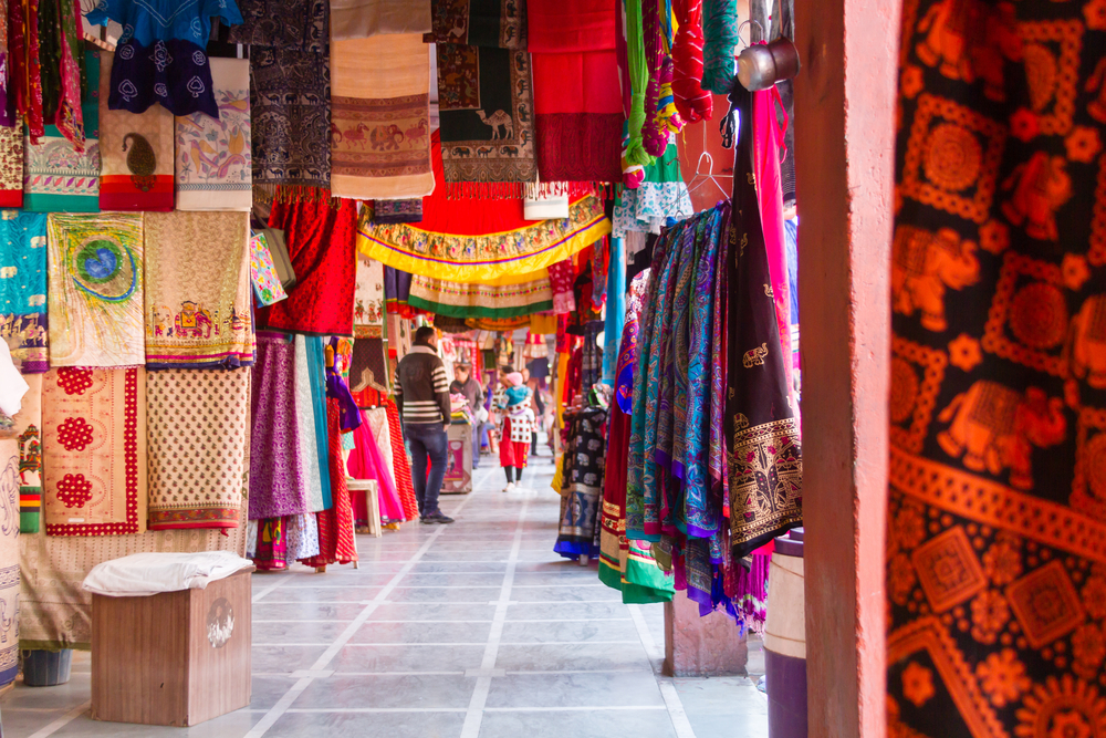 fabric market with colorful cloths hanging