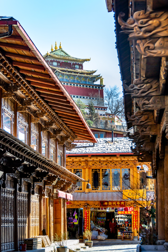street lined with traditional chinese temples