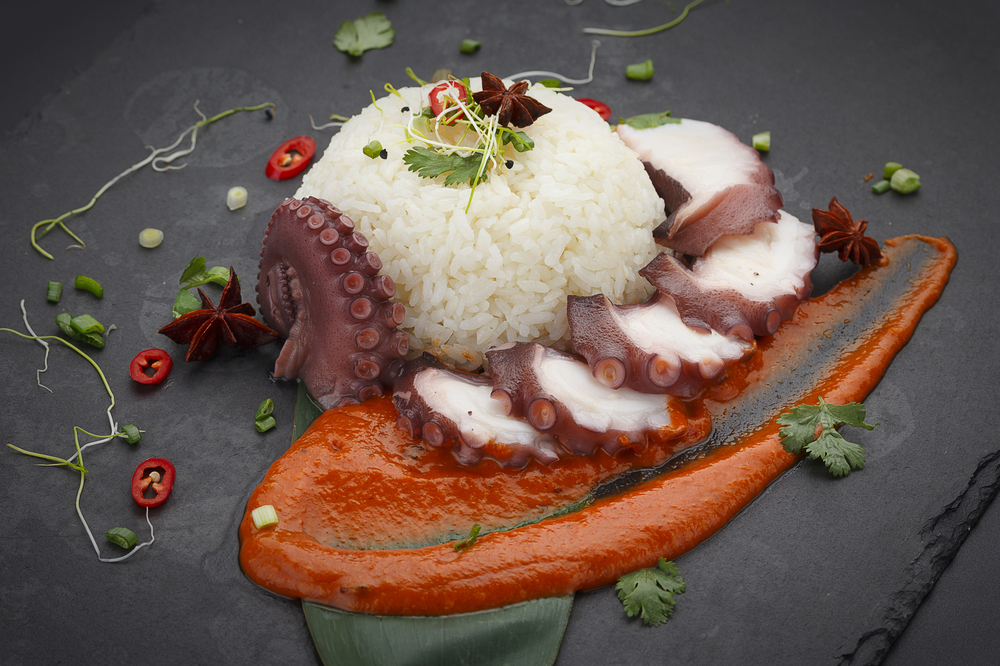 plated rice with octopus dish