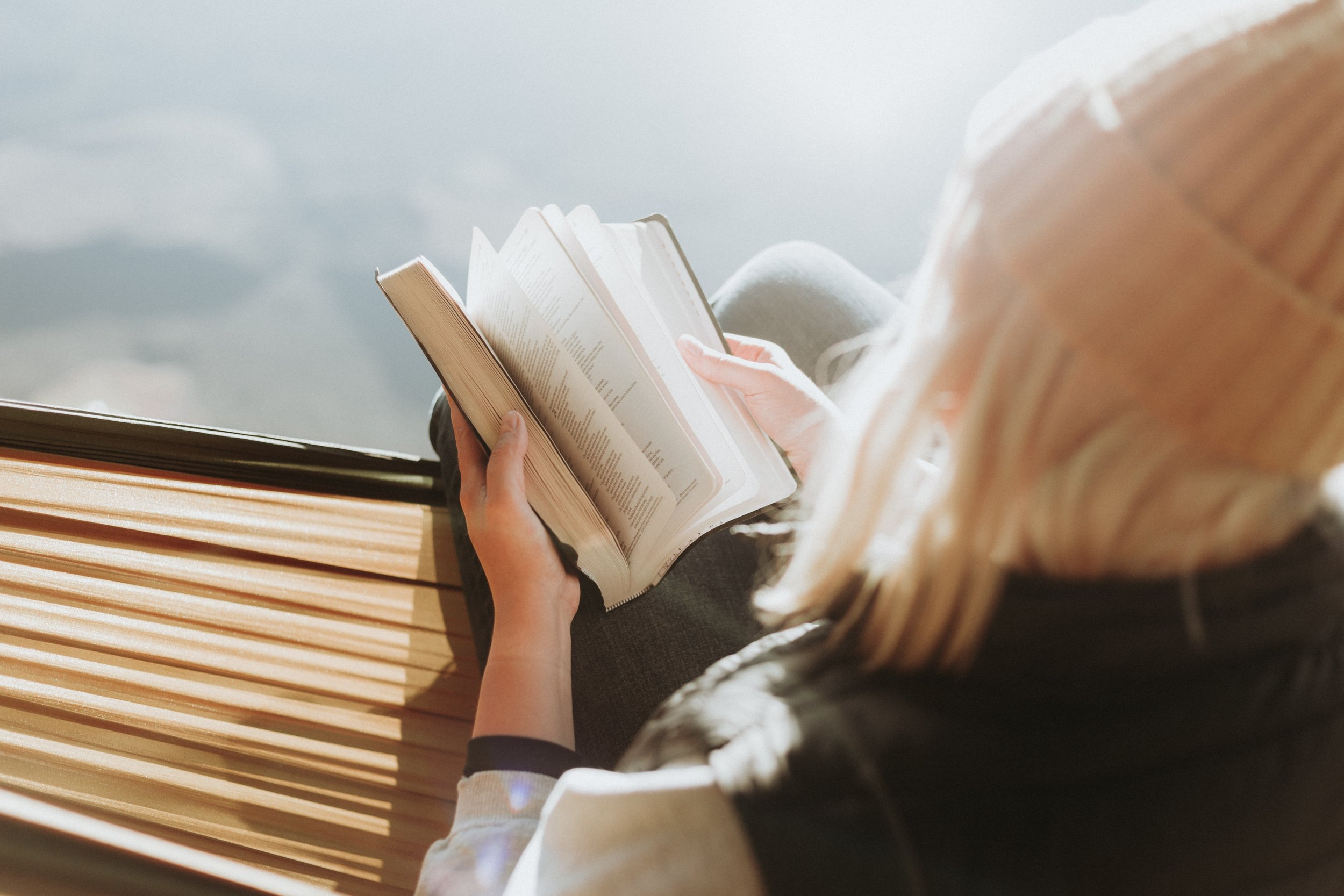 woman reading a book in well lit room