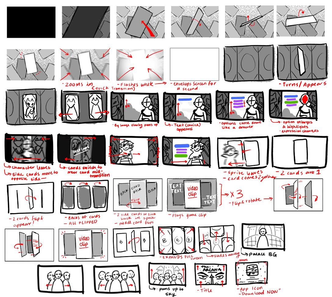 Rough storyboard sequence for the video trailer above.