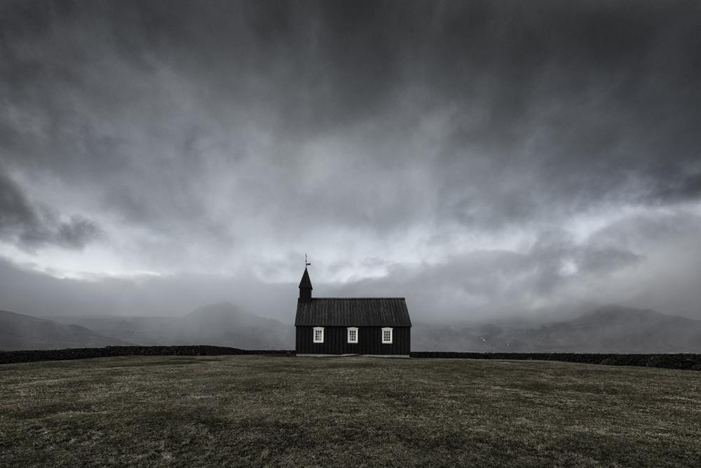 black church iceland Budir fine art dramatic moody island sort kirke mads peter iversen fotokunst lille.jpg