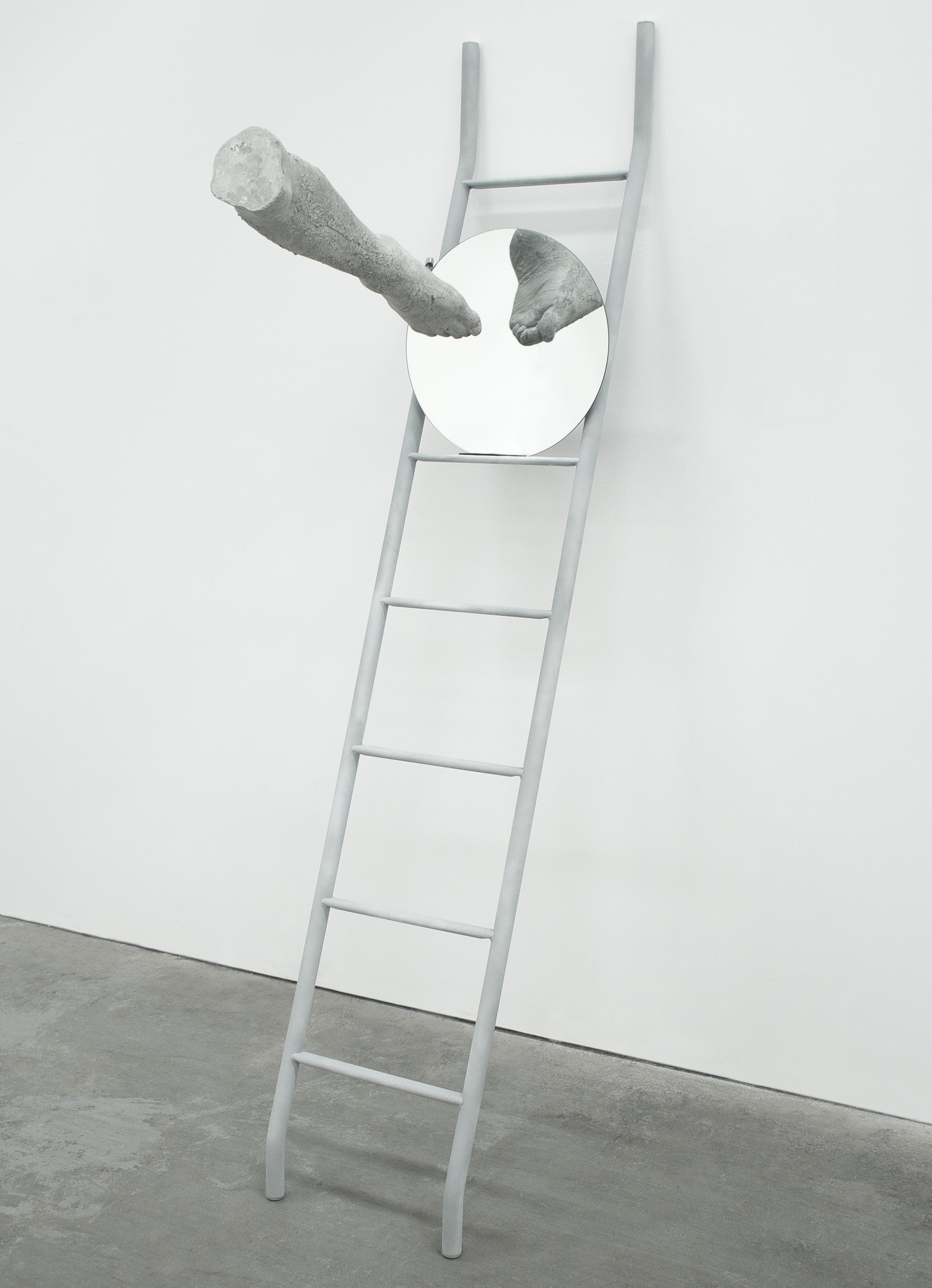 """Departure"" Cement, ladder, custom armature, rigging, parabolic mirror, 2017"