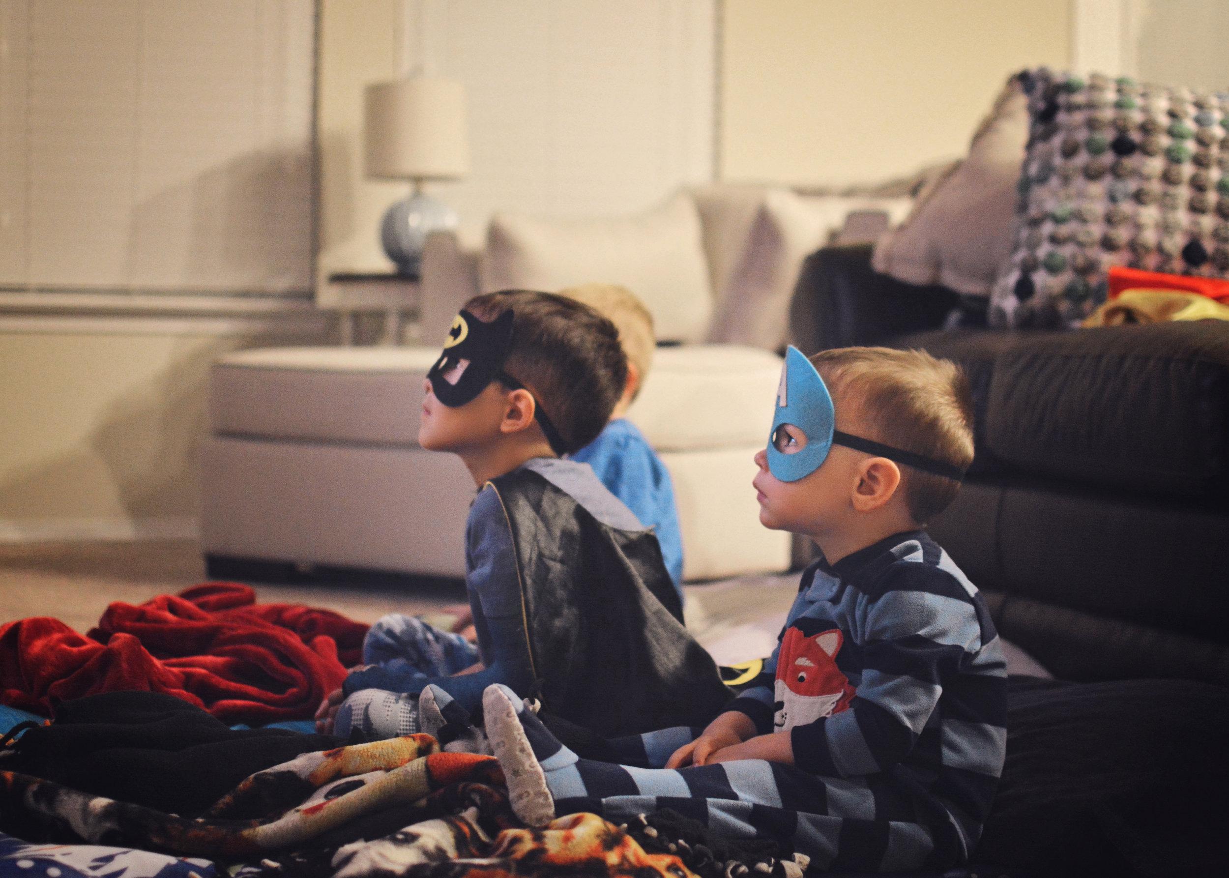 Our big boys enjoying a batman movie night