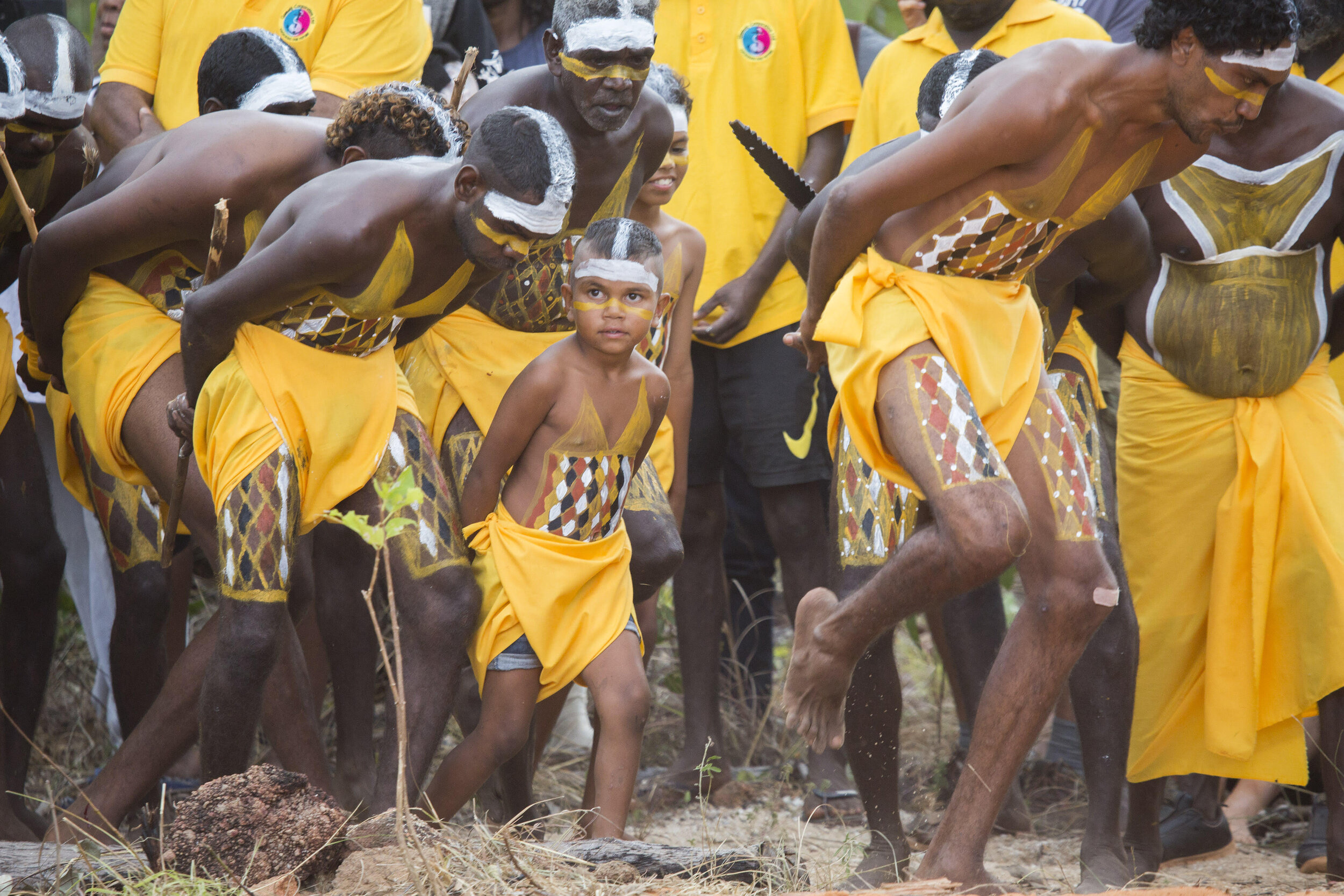 AUSTRALIA  THE GARMA FESTIVAL, (ARNHEM LAND)   THE GARMA FESTIVAL  is an annual 4-day celebration of Yolngu culture held in northeast Arnhem Land, showcasing ancient story-telling and traditional miny'tji (art), manikay (song), and bunggul (dance)   Photo: Members of the Gumatj clan performing bunggul (traditional dance) at the opening of the Garma Festival.  © Melanie Faith Dove / Yothu Yindi Foundation.
