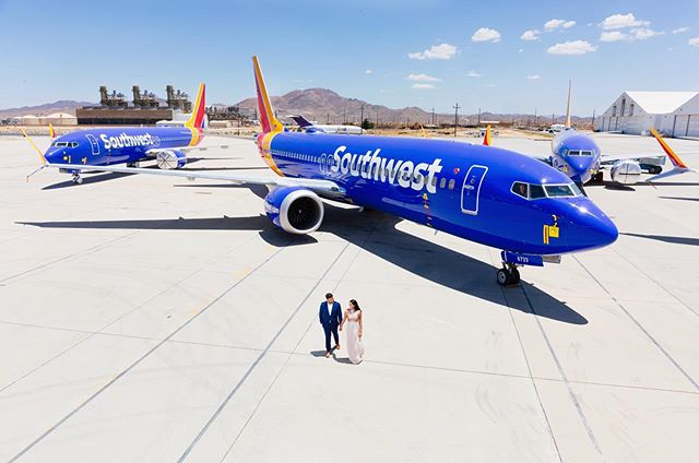 When your groom works for southwest airlines and has access to photograph at a airport full of airplanes!  #engagementphotos #engagementshoot #southwestairlines #couplesgoals #sarkisstudios #losangelesphotographer #losangelesengagement #indianwedding #orangecountyweddingphotographer #losangeleswedding #orangecountywedding