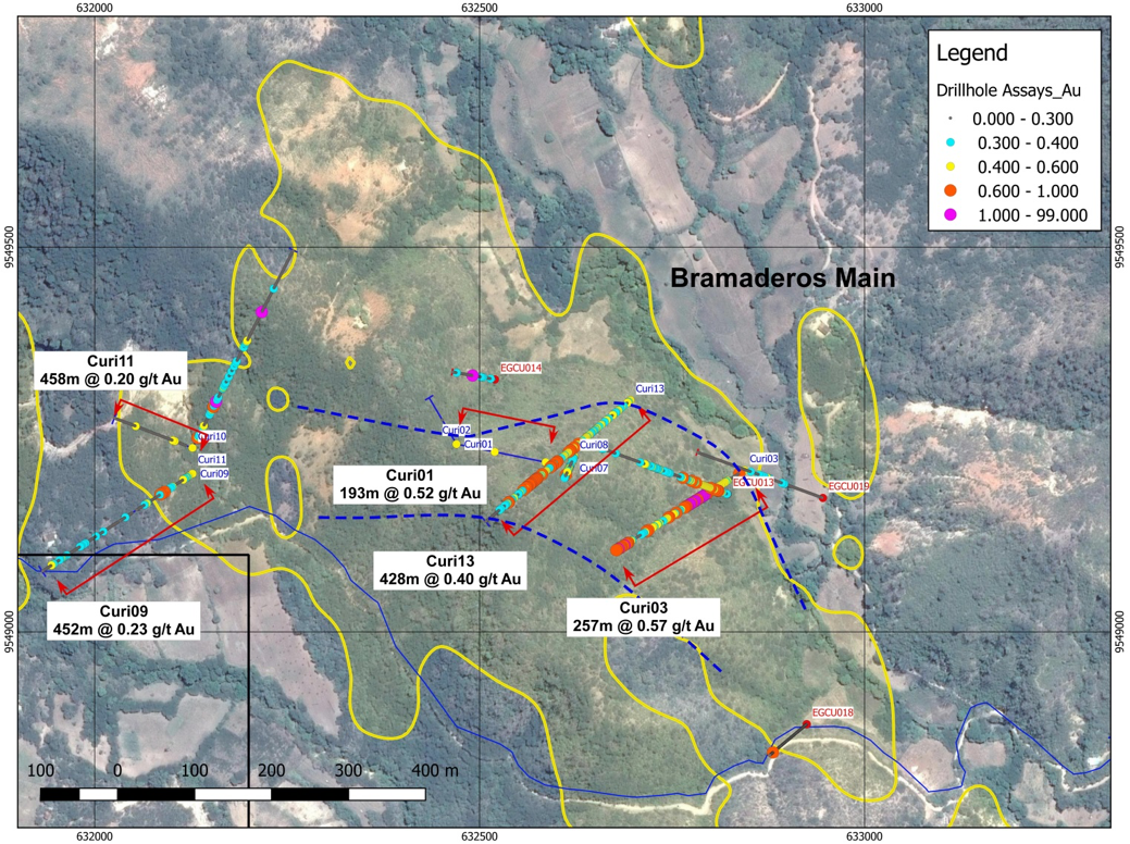 Location of gold mineralized holes Curi01, Curi03 and Curi13 at Bramaderos Main. Yellow shaded area is the Au-in soil 0.1 g/t contour.