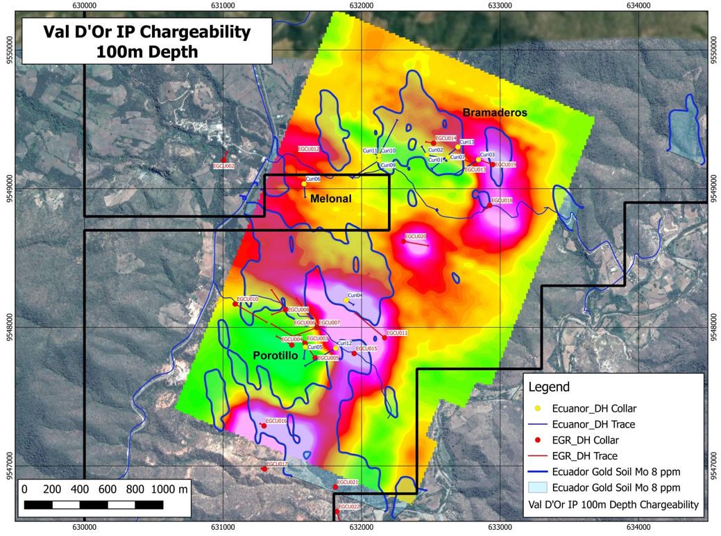 Val D'Or IP Chargeability at 100m depth – Bramaderos-Melonal-Porotillo.