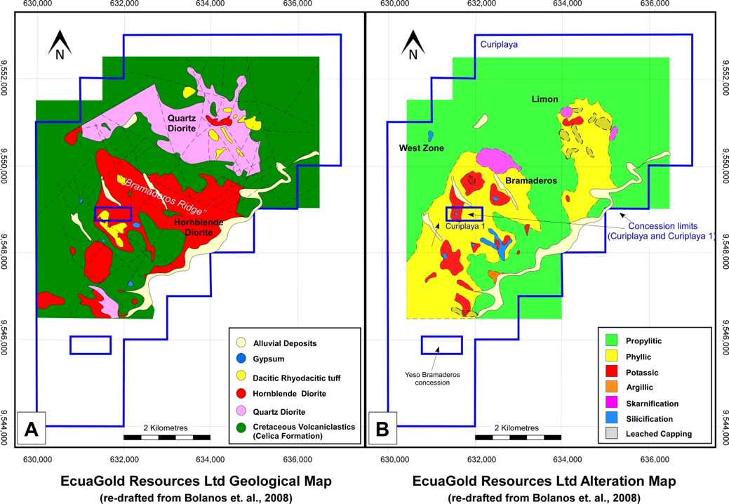 Lithology and structure map (left) and alteration map (right) created by EcuaGold Resources.