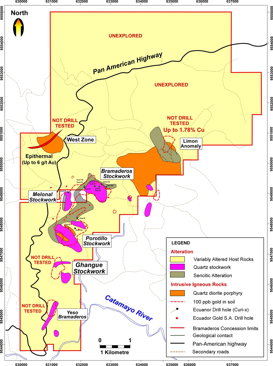 Mineral prospects and areas of quartz stockwork veining at Bramaderos (Ecuanor).