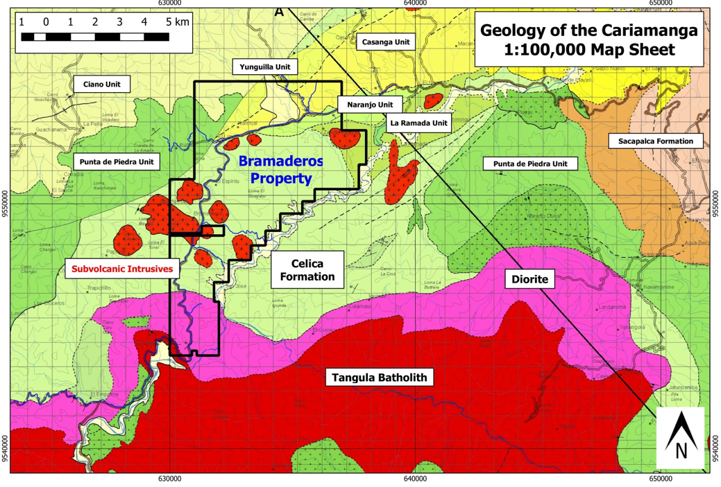 Figure 5: Geology of part of the Cariamanga 1:100,000 map sheet.