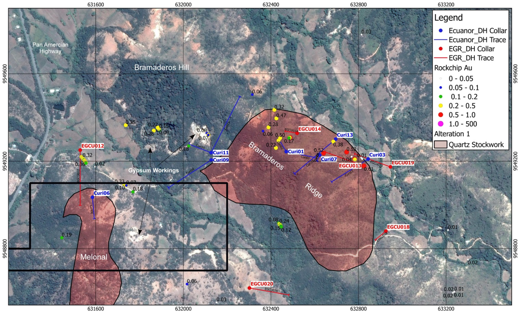 Mapped extent of porphyry stockwork veining at Bramaderos Main, historic rockchip samples and drill holes.