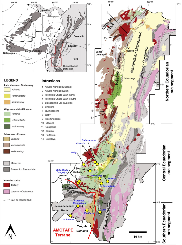 Geology of Ecuador and location of Bramaderos (formerly Curiplaya) on the Amotape terrane