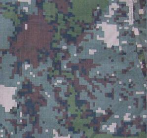Granite-B:   Granite-B was introduced in the early 2010s as the general camouflage pattern for the Army, Navy and Air Force after a series of similar digital patterns were trialed. This 5-colour pattern was intended to optimally blend in with the environment of the Korean peninsula all year long, including urban areas. It works notably well in dry forests during colder seasons and rocky environments.