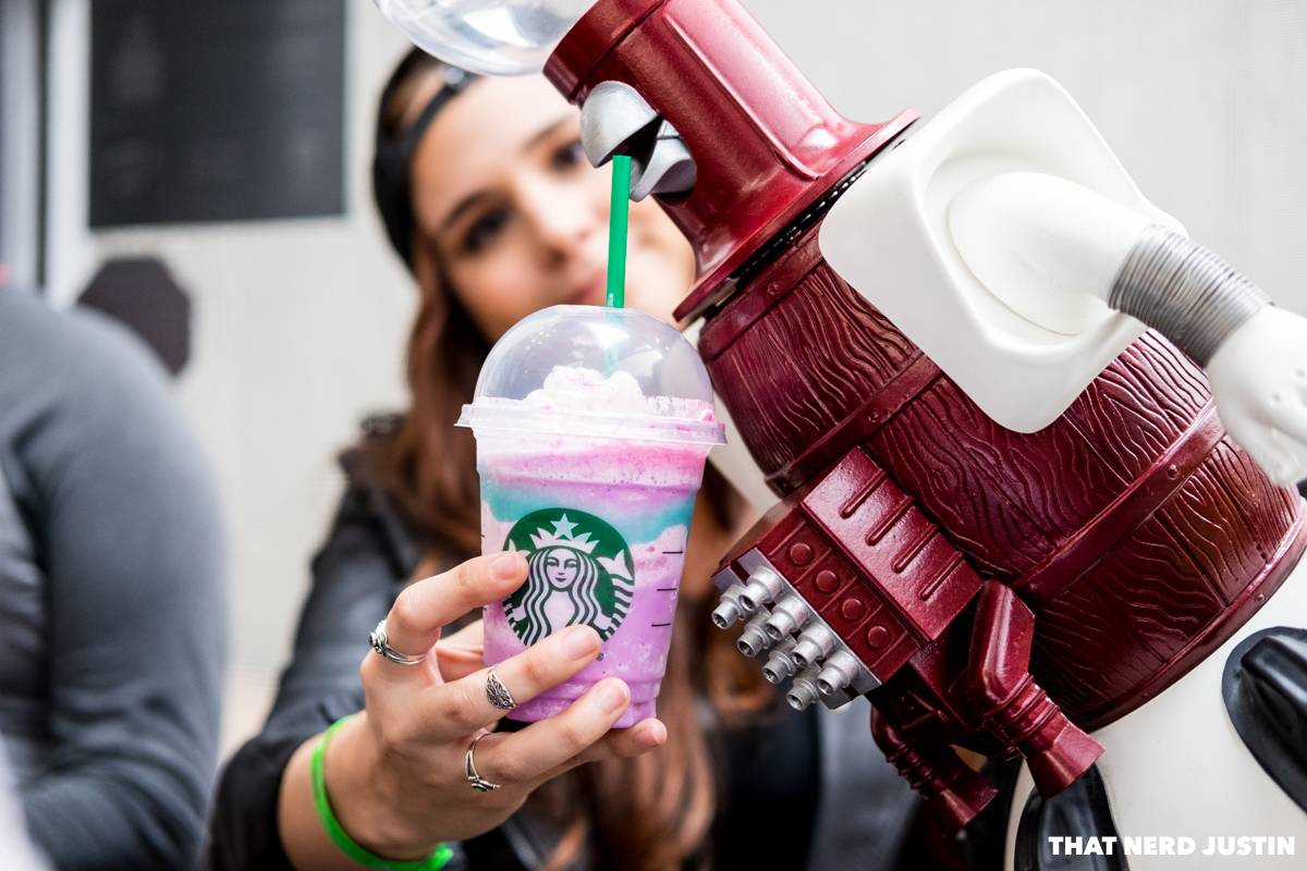 Katie and Tom Servo trying out the Unicorn Frappuccino ;D