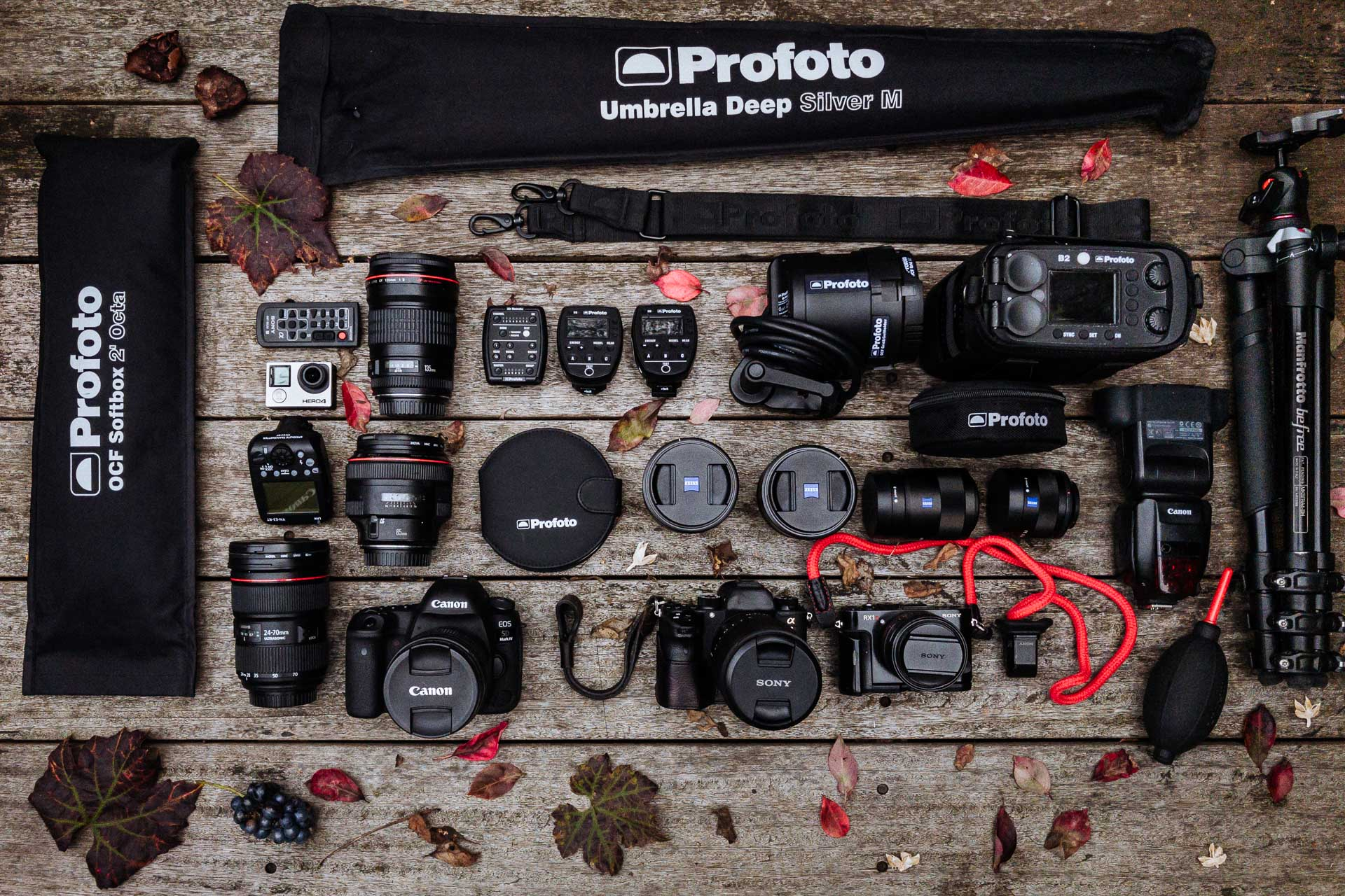 In the bag: An aerial view of Collard Studios professional kit bag