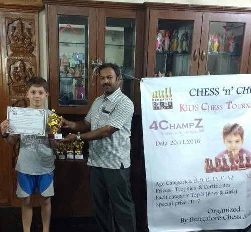 Samuel Mendonca places 1st in the Childrens Chess Tournament U-9 Category - 2016