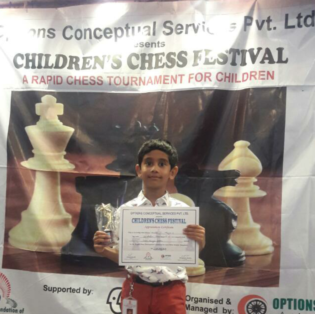 Tejjas places 9th with a score of 4/6 in the Children's Chess Festival Rapid Chess tournament